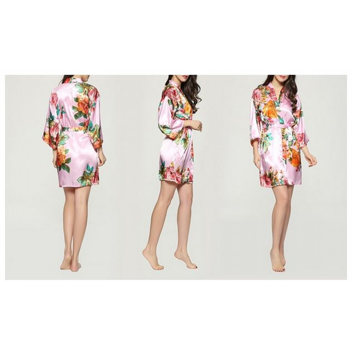 28182f4218 Floral-Garden-Print Satin Robe for Regular and Plus Sizes
