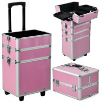 Professional Large 4 in 1 Hairdressing Makeup Vanity Case Beauty Cosmetics Trolley